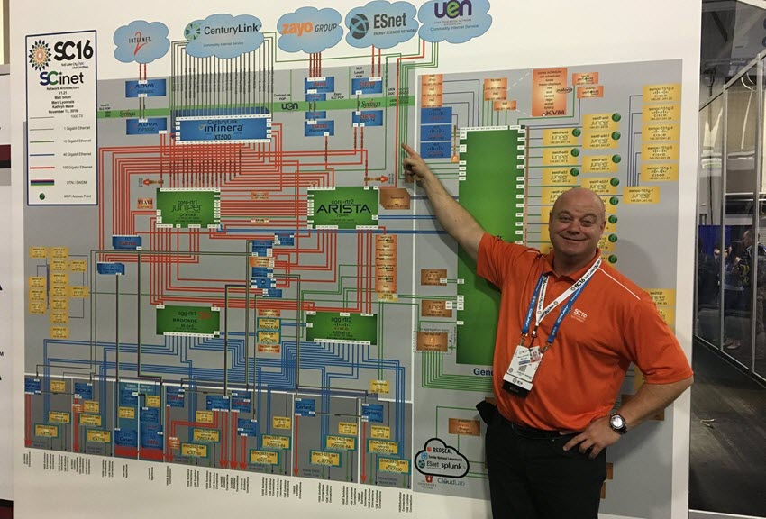 Ciena's Marc Lyonnais points to network they built at SCinet's SuperComputing show
