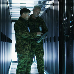 Soldiers in a server room