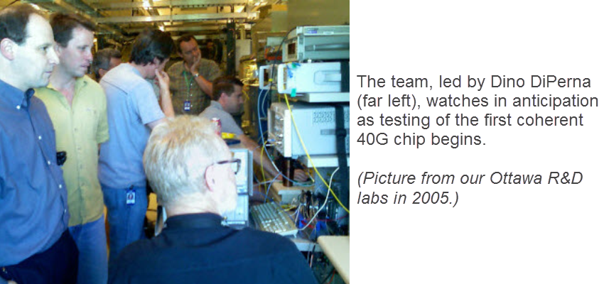 Ciena team watches testing of first 40G chip