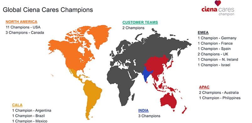Global Ciena Cares Champions map