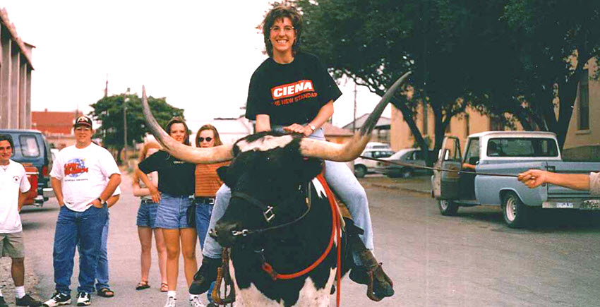 Ciena employee riding bull