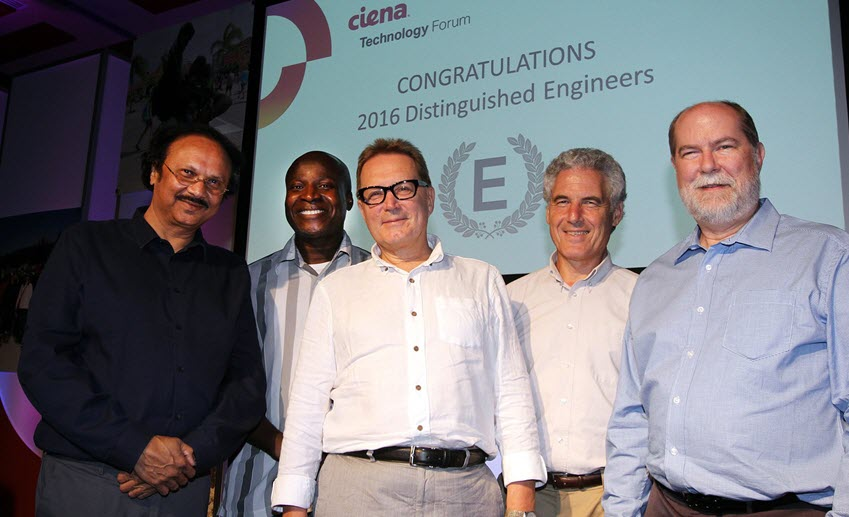 Himanshu Shah, Marc Holness, Yuriy Greshishchev, Peter Schvan, and Craig Parker are inducted to the Ciena Technical Awards of Distinction