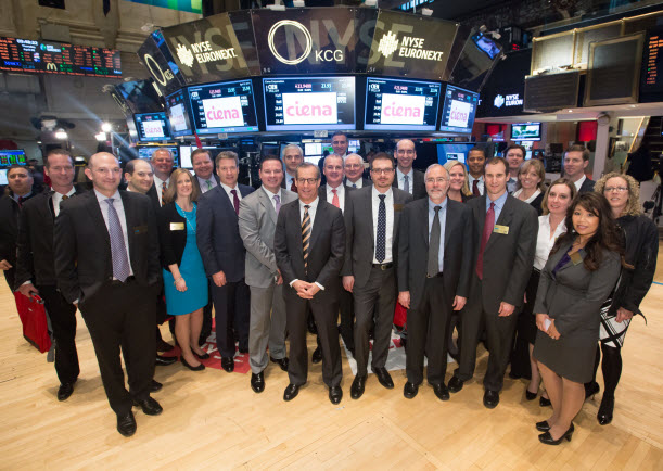 Team photo on the trading floor of NYSE
