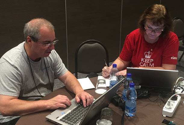 Bruce Rigaud and Barbara Fox of the Ciena team hard at work at the MEF Hackation this week in Rome