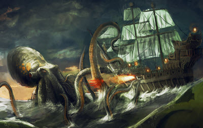 Kraken fights ship