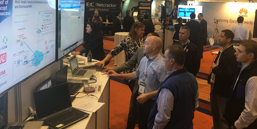 The Ciena team demonstrates the Proof of Concept demo at MEF16