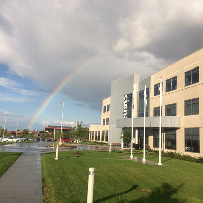 Ciena Ottawa offices with rainbow