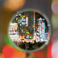 Cityscape through hole