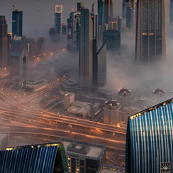 City with fog image