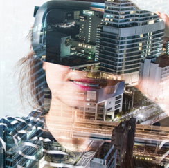 Woman virtual reality imposed on cityscape