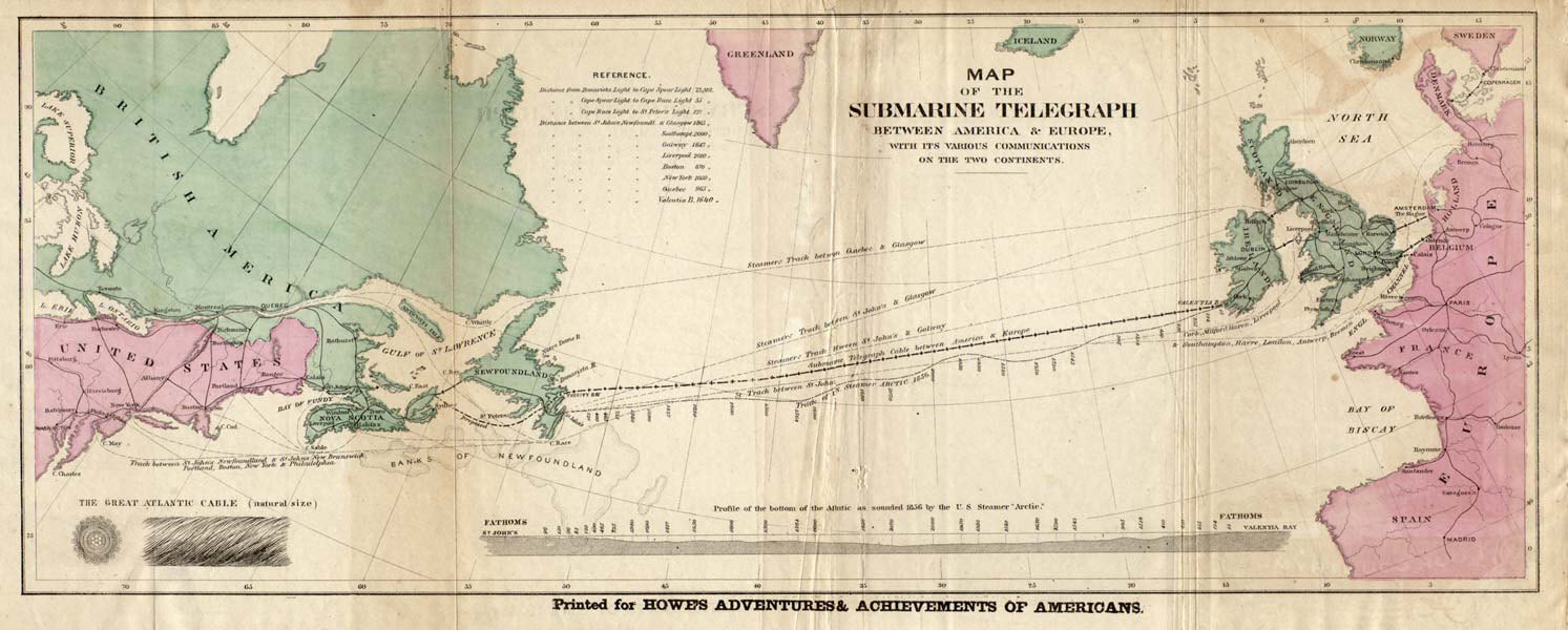 Map of the First Submarine Telegraph Cable