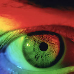 Eyeball with a rainbow overlay