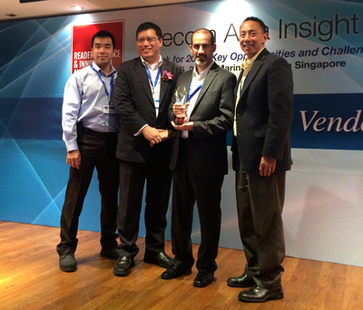 The Cyan Team Accepting Telecom Asia's Reader's Choice Innovation Award