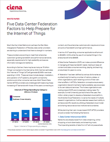 Five Data Center Federation Factors to Help Prepare for the Internet of Things
