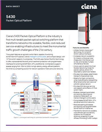 5430 Packet-Optical Platform data sheet preview