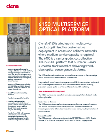 6150 MULTISERVICE OPTICAL PLATFORM datasheet