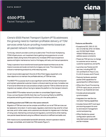6500 Packet Transport System (PTS) data sheet thumbnail