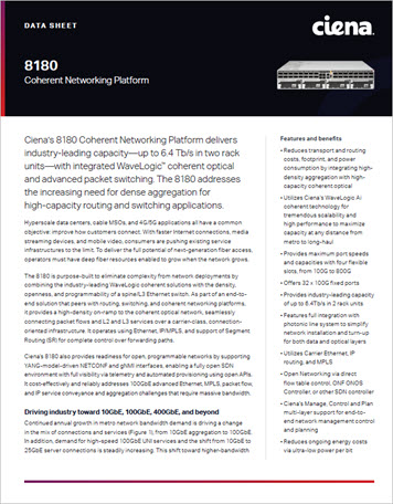 8180 Coherent Networking Platform data sheet preview