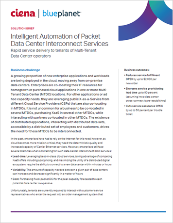 Intelligent Automation of Packet Data Center Interconnect Services solution brief