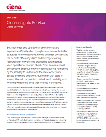 Ciena Insights Service data sheet