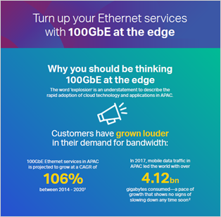 Turn up your Ethernet services with 100GbE at the edge infographic