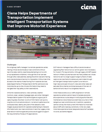 Ciena Helps States Implement Intelligent Transportation Systems that Improve Motorist Experience case study thumbnail