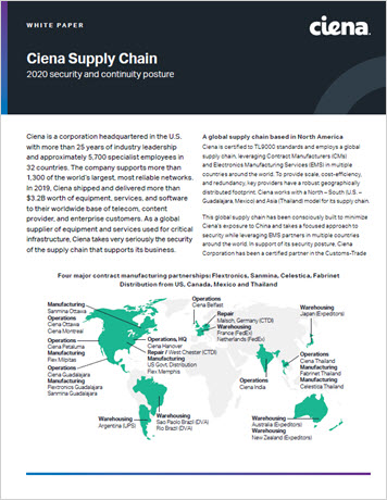 Ciena Supply Chain: Security and Continuity Posture whitepaper thumbnail