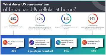 Thumbnail image for the What's driving US consumers' use of broadband and cellular at home infographic