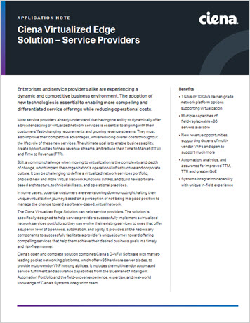 Ciena Virtualized Edge Solution – Service Providers Application Note thumbnail