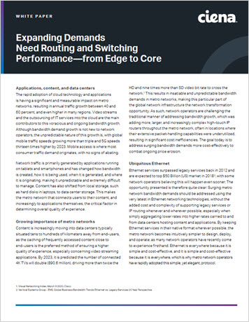 White paper thumbnail for Expanding Demands Need Routing and Switching Performance—from Edge to Core