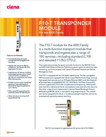F10-T 10G Transponder Module product data sheet
