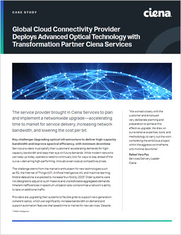 Thumbnail image for the Global Cloud Connectivity Provider Deploys Advanced Optical Technology with Modernization Partner Ciena Services (Colt) case study