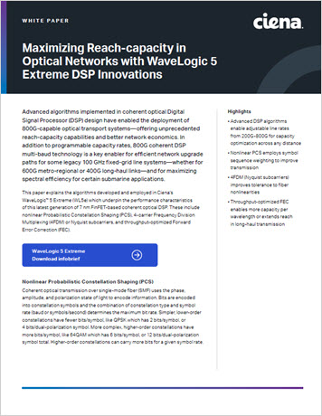 Thumbnail image for Maximizing Reach-capacity in Optical Networks with WaveLogic 5 Extreme DSP Innovations white paper