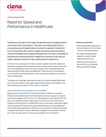 Need for Speed and  Performance in Healthcare application note