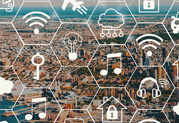 City landscape with technology applications spread around