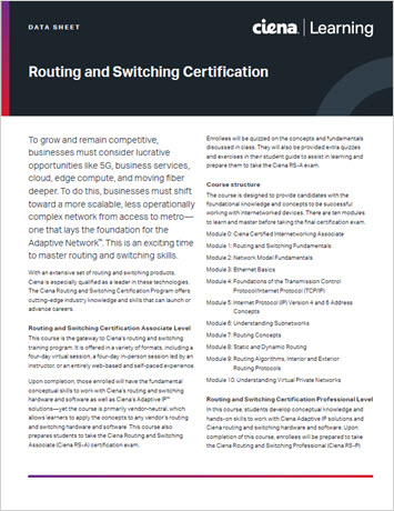 Thumbnail image for Ciena Routing and Switching Certification data sheet