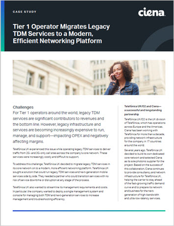 Thumbnail image for Tier 1 Operator Migrates Legacy TDM Services to a Modern, Efficient Networking Platform case study
