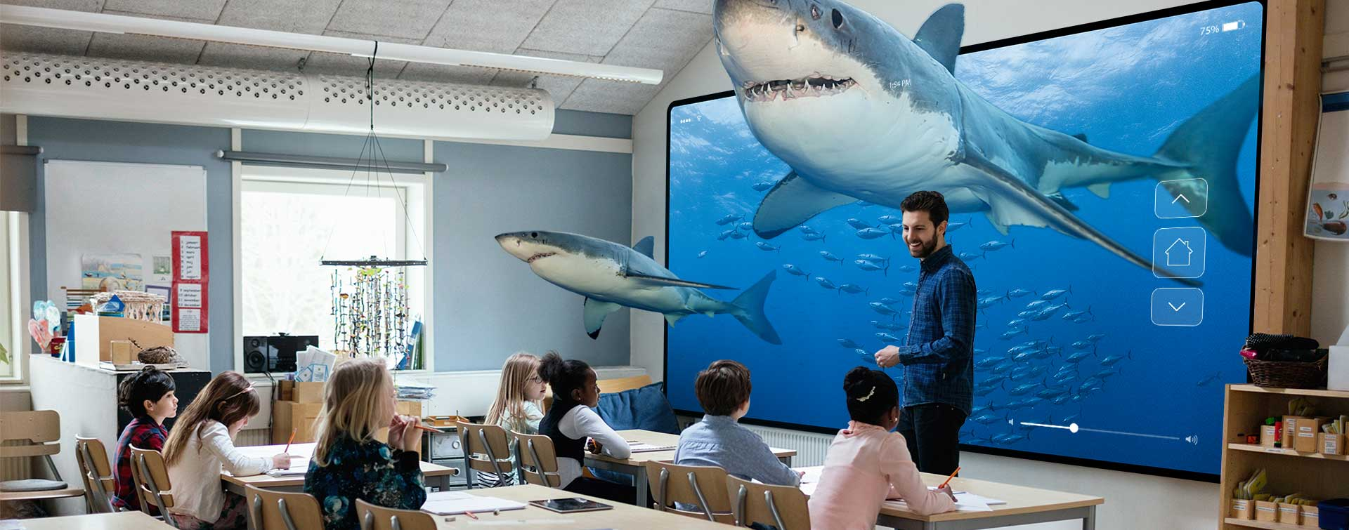Sharks in classroom with students and teacher