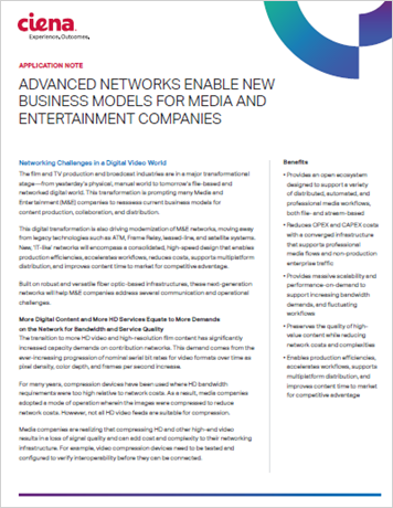 Advanced Networks Enable New Business Models for Media and Entertainment Companies