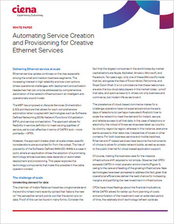Automating Service Creation and Provisioning for Creative Ethernet Services