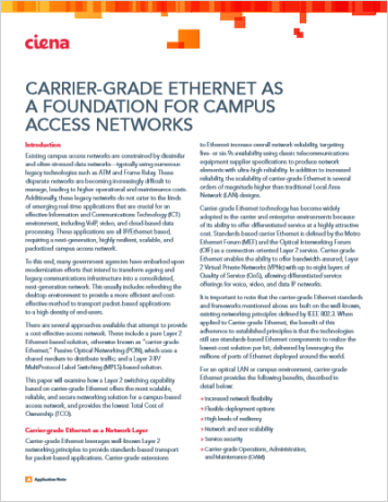 Carrier Grade Ethernet as a Foundation for Campus Access Networks