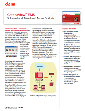 CatenaView EMS product data sheet