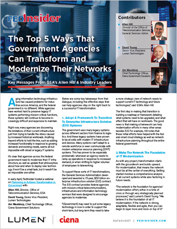FedInsider: The Top 5 Ways That Government Agencies Can Transform and Modernize Their Networks infobrief thumbnail
