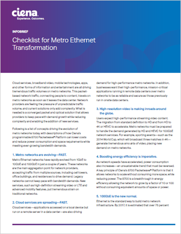 Checklist for Metro Ethernet Transformation