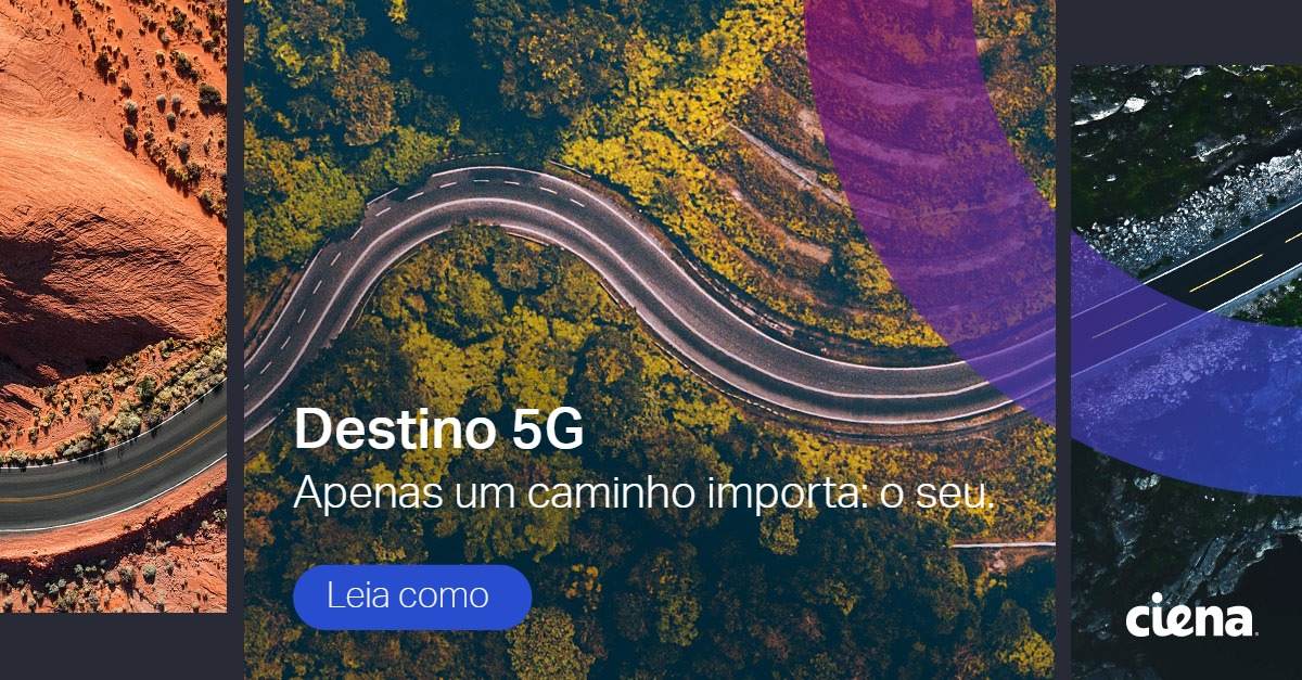 5G promo: car on highway, trees, aerial view