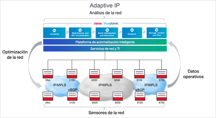 Diagrama de Adaptive IP de Ciena
