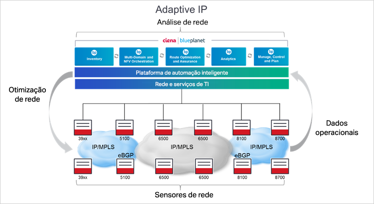 Diagrama Adaptive IP da Ciena
