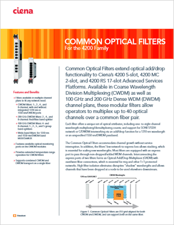 Common Optical Filters product data sheet