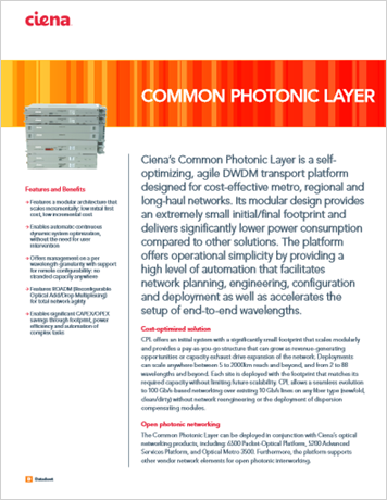 Common Photonic Layer product data sheet