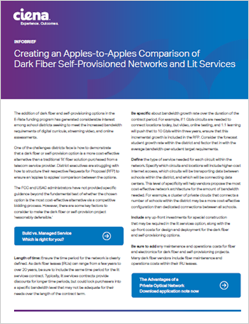 Creating an Apples to Apples Comparison of Dark Fiber Self Provisioned Networks and Lit Services
